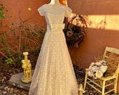 1950s White Lace Satin Floor Length Ball Or Wedding Gown From Historic Bordello Estate Size ML