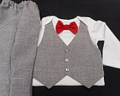 Baby Boy Wedding Outfit Gray Suit Lt.GrayVestPants AnyColor BowTie Carters Bodysuit Add a Hat Newborn24 mo. Ring Bearer Dress Up Holidays
