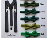 Boys Bow Tie and Suspenders, Green Wedding Bow Tie, Ring Bearer Outfit, Kids and Adult Bow Tie Suspenders, Baby Boy Bow Tie, Green Palette