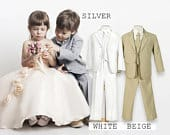 Baby to Big Boy 5Piece Regular Suit, Beige, Silver, White, Baptism, Christening, Wedding Ring Bearer, Confirmation, Size 6 months to Boy 20