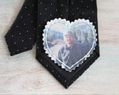 Custom Portrait. Picture Patch. Photo Tie Patch. Father of the Bride Gift. Dress Label Wedding. Groom Gift form Bride. Tie Patch. Necktie.