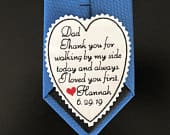 Personalized Tie Patch Father of Bride, Heart Patch, Wedding Patch, I loved you first, Embroidered Tie Patch, sew or iron on