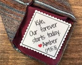 Personalized Wedding Tie Patch GROOM TIE PATCH, Sew or Iron On, 2.5 or 2 Wide, Our Forever Starts Today, Gifts for Him, Groom Gifts