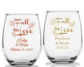 36 Stemless Wine Glass Fall Wedding Favors, Custom Fall In love Design, Personalized Autumn Wedding Party Favors