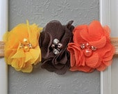 The Autumn Sweetheart Headband Pretty Fall Flower Hairbow in Yellow, Brown Orange Baby Girl Autumn Headbands in Bright Fall Colors