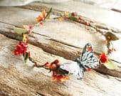 wedding butterfly flower crown, girls flower headband, red and yellow floral crown, flower girl crown, festival crown, bridal flower crown