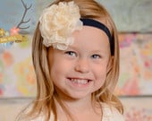 Navy Blue Cream Headband Flower Girl Newborn Baby Infant Toddler Wedding Lace Chiffon Flower