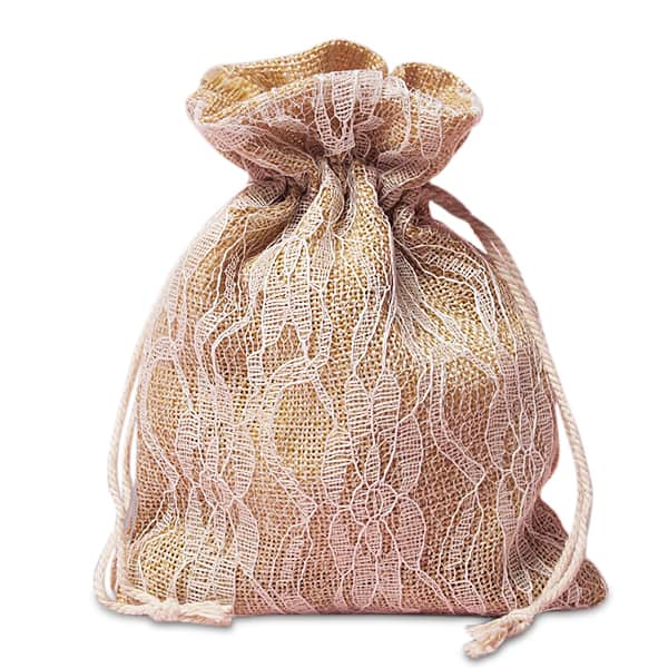 "Cord Ivory Lace Burlap Bags - 5"" X 6-1/2"" - Fabric Bags by Paper Mart"