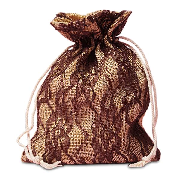 "Cord Brown Lace Burlap Bags - 5"" X 6-1/2"" - Fabric Bags by Paper Mart"
