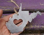 West Virginia Christmas Ornament WV Metal State Heart Christmas Tree Ornament Holiday Gift Industrial Decor Wedding Favor By BE Creations