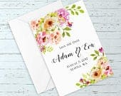 Watercolor Floral Wedding Save The Date (Elegant, Romantic, Rustic, Boho, Custom Wedding Suite w/ Pink, Peach, Gold Watercolor Flowers)