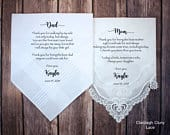 Mother of the Bride Gift Father of the Bride Gift from the Bride, Mother of Bride Gift, wedding handkerchief from daughter POB