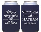 custom wedding can cooler / personalized wedding favor / custom can coolie / cheers to many years and cold beers / wedding custom drink