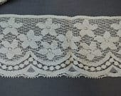31/4 yards Vintage Lace Trim, 4 inches wide, Ivory Cotton