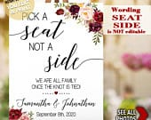 Pick a Seat Not a Side we are all family sign Wedding Ceremony seating editable portrait poster sign YOU EDIT PRINT template SG24 103