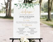 Ceremony Sign with Wedding Party, Greenery program sign, Gold Wedding Program Sign, Ceremony Sign, Wedding Party Sign, Gold Wedding Sign