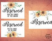 Sunflowers Reserved Sign set, ceremony aisle sign, wedding ceremony sign, reserved printable, reserved row sign, reserved seat sign