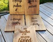 Rustic Wooden Aisle Love Signs for You Wedding, Love is Patient, Love is Kind, Corinthians 13. Ceremony Decor