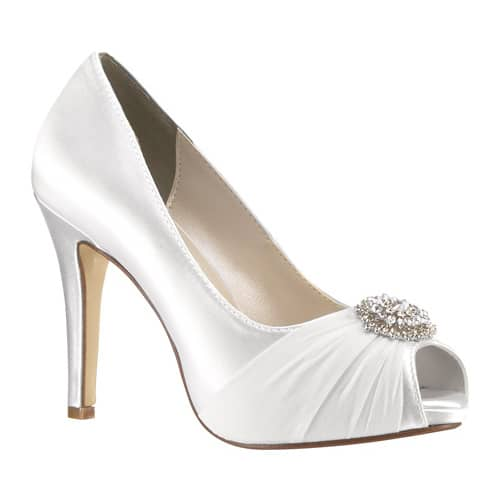 Women's Touch Ups Antonia Peep Toe Pump, Size: 5 M, White Satin