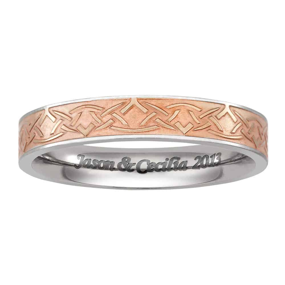 Women's Titanium and Rose Gold Celtic Knot Wedding Band