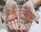 Clear Acrylic Snowflake Wedding Event Invitation Elegant Lucite Invite Laser Engraved Custom Made Transparent Winter Frozen theme