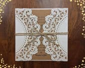 More Colors Affordable Rustic Laser Cut White Kraft Square Invitation Wedding Die Cut Laser Cut Traditional Wedding Invites Laser Cut