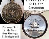 Custom Navy Military Pocket Watch Personalized Groomsman Gift w/31 Chain OR 14 Belt Chain OR Case Gift for Groomsman Gift for Groom