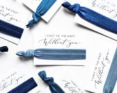 CHOOSE YOUR COLORS Dusty Blue Bridesmaid Proposal Hair Tie Card, Thank You Bridal Party Hair Tie Favor, Navy Denim Blue Gift Box Favors