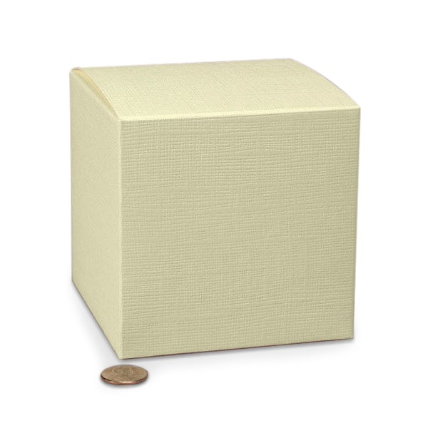 "Ivory Favor Boxes for Weddings Cardboard - Quantity: 20 Width: 4 3/4"" Height/Depth: 4 3/4"" Length: 4 3/4"" by Paper Mart"