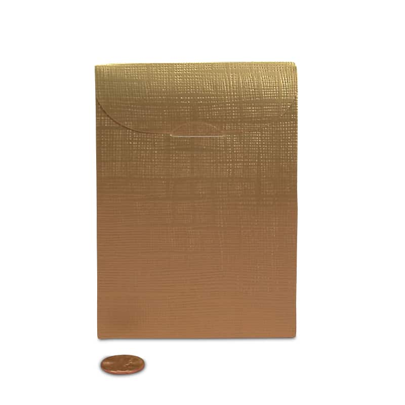 "Gold Favor Tab Top Tent Boxes Cardboard Gusset - 1 3/4"" - Quantity: 20 - Favor Boxes Width: 3 1/2"" Height/Depth: 5"" by Paper Mart"