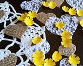 Yellow Paper Flower Confetti with Burlap and Lace Hearts Wedding Decor Table Scatter Romantic Rustic Wedding Decorations