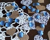 Lavender Paper Flower Confetti with Burlap and Lace Hearts Wedding Decor Table Scatter Romantic Rustic Wedding Decorations