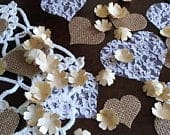 Soft Gold Paper Flower Confetti with Burlap and Lace Hearts Wedding Decor Table Scatter Romantic Rustic Wedding Decorations