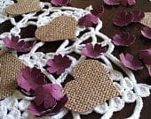 Burgundy Paper Flower Confetti and Burlap Hearts Wedding Decor Table Scatter Romantic Rustic Wedding Decorations