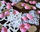Pink Paper Flower Confetti with Burlap and Lace Hearts Wedding Decor Table Scatter Romantic Rustic Wedding Decorations