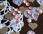 Blush Paper Flower Confetti with Burlap and Lace Hearts Wedding Decor Table Scatter Romantic Rustic Wedding Decorations