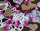 Magenta Paper Flower Confetti with Burlap and Lace Hearts Wedding Decor Table Scatter Romantic Rustic Wedding Decorations