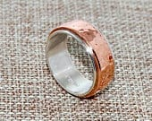 Womans Hammered Copper on Sterling Silver Band Size 2 thru 11 Free Priority Mail Shipping