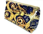 Doctor Who Starry Night Zipper Bag, Cosmetic Bag, Accessory Bag, School Supply Bag, Zipper Pouch, Makeup Bag, Lined Bag