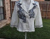 Altered Womens Lacy Jacket, White Lace and Beaded Jacket Tunic, Altered Couture,Shabby Chic Jacket, Size 12, Gray Beaded and Embroidered