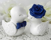 Wedding Cake Topper Love Birds Ivory and Navy Blue Bride and Groom Keepsake Fully Personalized