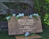 Wedding Welcome Sign Last Name Sign Wedding Decorations Wood Sign Personalized Sign Alternative Guest Book Wood Slabs Weddings