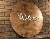 Wedding guestbook alternative Wedding guest book Last name wood sign Family name wood sign Circle wood sign Laser cut 3D sign