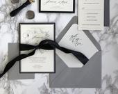 Black and Floral Wedding Invitation, Black and Grey Invitation, Floral Wedding Invitation, Wedding Invitation, Black Invitation