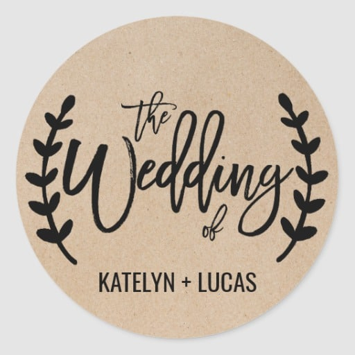 Rustic Chic Faux Kraft Wedding Envelope Seals