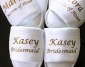 Personalized Bridesmaid Slippers Personalized with Names and Titles Slippers Wedding Slippers Bridal Slippers Bridesmaid Gift