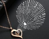Graduation Gift Jewelry 100 languages I love you Projection Pendant Necklace Heart Charm Statement Choker Necklaces For Women 27095