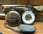 Personalized Gun Metal Pocket Watch Customizable Unique Gift Father of the Groom Fathers Day Best Man Groomsman Mechanical