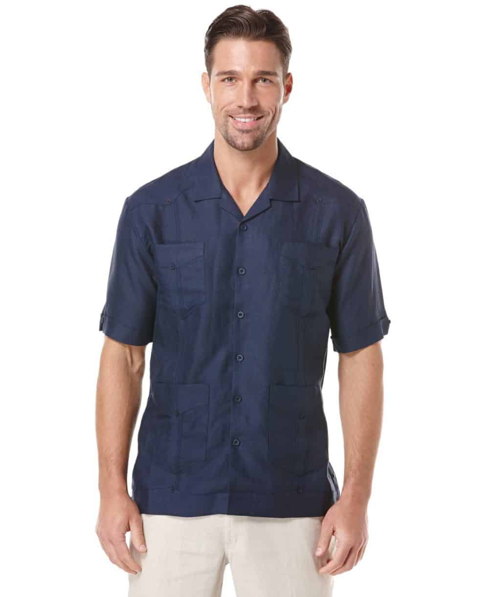 Cubavera Men's Big & Tall Short Sleeve Guayabera (Dress Blues) - Size 4XLT