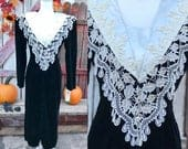 1980s Black Velvet Dress Long White Lace Collar NEW Old Stock By Jeffrey Dara Evenings By Tom Barra Size 10